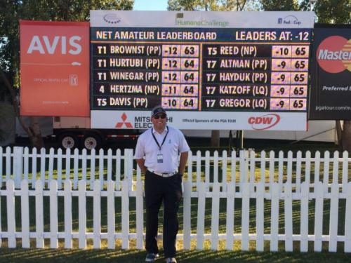 Chad Brownstein in front of Humana Challenge Leaderboard after the final round.